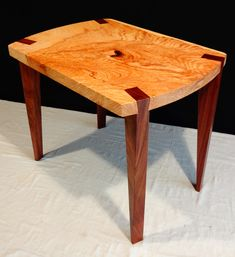 Modern wood furniture. Elm & Walnut Side Table. #fineartfurniture designed and crafted by Jay Duvall Made in Virginia Award 2015 @valivingmag www.duvalldesignsgallery.com Signature joinery by Jay Duvall Commissions available. #madeinvirginia