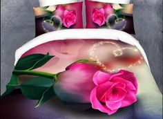 Home Textile Bedding Set/Comforter Bed Sheet Bedclothes/Duvet Cover Sets Alibaba China Supplier 3d Bedding Sets, Comforter Sets, Pink Bedding, King Size Duvet Covers, Duvet Cover Sets, Cama Floral, 3d Rose, Bedclothes, Romantic Roses