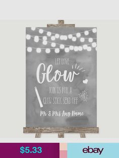 Grey Watercolour Lights Let Love Glow Glowstick Personalised Wedding Sign Wedding Signs, Wedding Ideas, Party Banners, Glow Sticks, Reception, Let It Be, Lights, Love, Diy