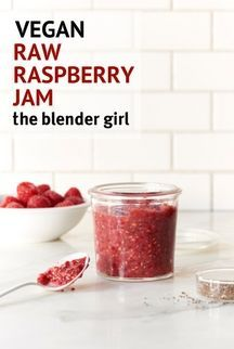 This raw raspberry jam is absolutely delicious, and tastes just like conventional jam without all of the cooking and jarring time. This recipe is so quick and easy, you may never make the other stuff again. #theblendergirl #veganrawraspberryjam #veganraspberryjam #rawraspberryjam #raspberry #jam #easyraspberryjam #jamrecipe #vegan #raw