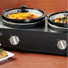 Nostalgia Electrics Nostalgia Electrics 2.5 Quart Triple Slow Cooker Buffet in Stainless Steel and Black