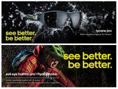 """Adidas Eyewear apuesta fuerte por las disciplinas deportivas y por eso lanza al mercado los cristales hidrofóbicos, capaces de repeler el agua y la suciedad. Especiales para sus modelos Tycane Pro y Evil Halfrim Pro. La campaña se denomina """"See Better Be Better"""""""