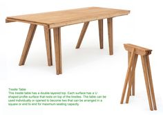 This is a trestle table but in contemporary design. It was used in the Romanesque period because it could easily be moved  and when not in use stored in separate pieces.   http://myhouseismycastle.files.wordpress.com/2010/02/grassworks-by-jair-straschnow-trestle-table.jpg