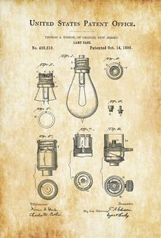 Patent print poster of a lamp base invented by the great inventor Thomas Alva Edison. The patent was issued by the United States Patent Office on October This patent is for the base that the light bulb screws into. As you will notice, the light b Wall Art Prints, Poster Prints, Posters, Electrician Gifts, Patent Office, Chalkboard Decor, Patent Drawing, Art Decor, Decoration