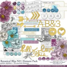 Botanical Bliss Element Pack No. 01 gold scrapbook embellishments for accenting…