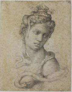 This image provided by the Muscarelle Museum of Art at the College of William & Mary shows a drawing by Renaissance artist Michelangelo of Cleopatra that is on display at the museum in Williamsburg, Va.