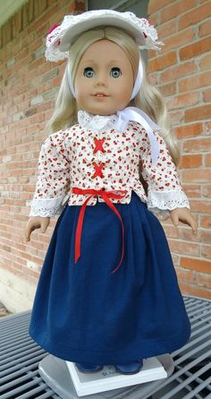 "18"" Doll Clothes 1700's Colonial Style Jacket/ Skirt/ Hat for Summer Fits American Girl Doll Felicity, Elizabeth, Carolyn"