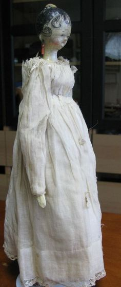 Early Wooden Grodnertahl Doll with Comb and Early Clothing