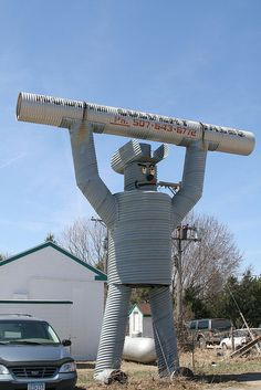 Culvert Man. 30 foot giant metal cowboy. Nodine, Minnesota. I told ya' Heather there was a cowboy in my building! :)