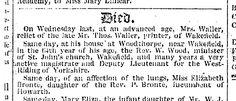 The death of Elizabeth Brontë announced in The Leeds Mercury, Saturday, June 18, 1825. newspaper