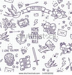 Old school tattoo seamless pattern Cartoon tattoo elements in funny styleanchor, dagger, skull, flower, star, heart, diamond, scull and swallow Doodle in exercise book style