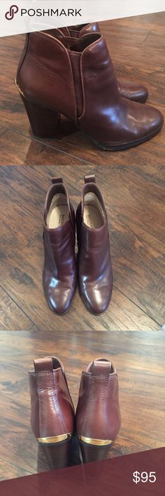 Michael Kors brown leather booties WORN ONCE. These beauties were worn one time for a dinner party. I just don't reach for them so they need to head to a new home. Michael Kors Shoes Ankle Boots & Booties