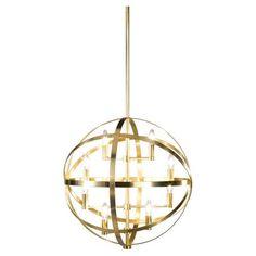 Eight Light Brass Up Pendant