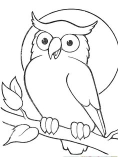Outline Owl Sitting On Branch Tattoo Sample