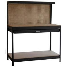 Garage Work Bench for David    48 in. W x 60 in. H x 24 in. D Steel Black Workbench-PR250 at The Home Depot