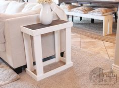 DIY Side Table Tutorial DIY Side Table Tutorial,DIY Furniture Thrifty and Chic - DIY Projects and Home Decor home decor house projects side table wood projects stand ideas Cheap Side Tables, Small End Tables, Diy End Tables, Diy Table, Narrow Side Table, Party Tables, Furniture Projects, Diy Furniture, Diy Projects
