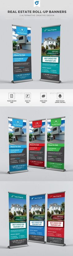 Buy Real Estate Roll-up Banners by LeafLove on GraphicRiver. Real estate roll-up banners template. This layout is suitable for any project purpose. Very easy to use and customise. Banner Vector, Banner Template, Signage Design, Brochure Design, Cool Business Cards, Business Card Design, Sale Signage, Roll Up Design, Set Design