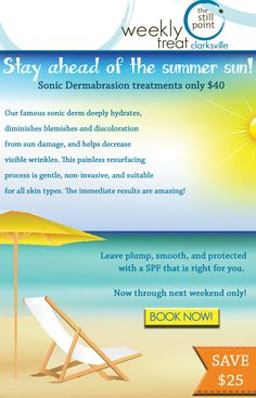 Sonic Dermabrasion only $40 through Sunday only!! Both locations - get your appointment today as only a few left!
