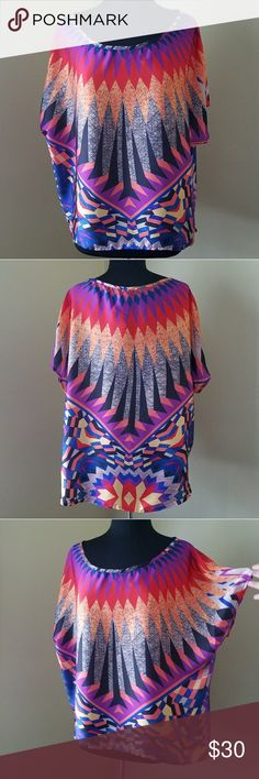 NWOT, Bisou Bisou, XL, Funky Batwing Blouse Like New! Closet dweller  Multi colored pattern batwing sleeve blouse.  Size XL by Bisou Bisou Bisou Bisou Tops Blouses