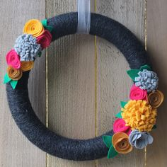 Characol Grey Yarn Wreath with Colorful Felt by TheBloomingWillow