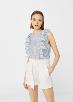 Ruffles embroidered top - Women | MANGO USA