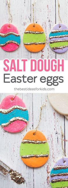These Salt Dough Easter eggs are perfect for hanging on an Easter tree! Kids will love helping to make these for Easter decorations. These Salt Dough Easter tree ornaments are so fun to make! #easter #kidscraft #easteractivity #eastercraft via @bestideaskids
