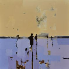 "Geoffrey Johnson, ""Yellow-Blue with People"" - 26x26, oil on panel -- at Principle Gallery"