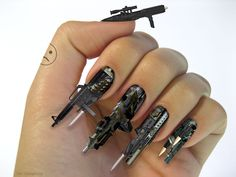 That might be the coolest nail art ever. 3D-Firearm-Weapon-Fingernails
