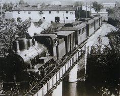 Tren cruzando el puente P1 de la Rochapea en Pamplona.