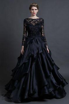 67041d9ecc Long Sleeve Lace Gothic Black Wedding Gothic Wedding Dresses