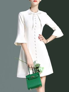 A-line Plain Buttoned Frill Sleeve Elegant Mini Dress