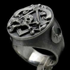Fenomenal freemason-masonic Mens prata esterlina Crânio E Ossos Biker Anel S12
