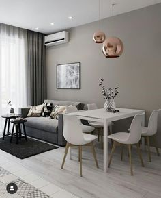 Home Interior Modern .Home Interior Modern Small Apartment Living, Home Living Room, Living Room Designs, Living Room Decor, Dining Living Room Combo, Small Living Dining, Dining Room, Minimalist Home Interior, Home Interior Design