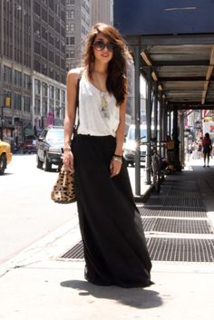 maxi skirt, tucked in tank, long necklace