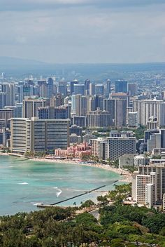 ✮ Honolulu, Hawaii.   The Sheraton - just left of The Royal Hawaiian is where we stayed for 6 weeks waiting for our furniture to arrive from the mainland.