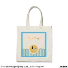Stork delivering baby boy and blue stripes tote bag