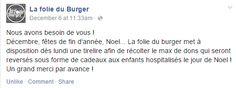 Great Facebook post from La Folie du Burger in Marseille, France / Sympathique post Facebook de La Folie du Burger à Marseille, France https://www.facebook.com/permalink.php?story_fbid=580682782031953&id=445905692176330