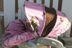 Pink Realtree Camo with brown minky Car seat by SqueakyBugBabies, $50.00....but black not brown