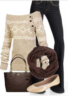 Beige and white, off the shoulder sweater, jeans, brown scarf, and beige flats. Cute winter outfit