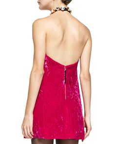 Crystal-Neck Velvet Halter Dress
