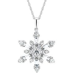 Reeds Created White Sapphire Sparkling Sterling Silver Snowflake... ($125) ❤ liked on Polyvore featuring jewelry, necklaces, accessories, colar, white jewelry, white sapphire pendant, sterling silver jewellery, sterling silver pendants and fake jewelry