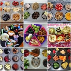 Muffin Tin meal ideas for kids....kinda like bento in a way. Seperate compartments, fun and creative meals for kids. Can use all kind of muffin tins....I think my kids would LOVE this.