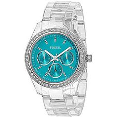 @Overstock - Fossil combined modern with vintage, dressy with sporty, and color with clear to create this eye-catching Stella watch. With a clear case and bracelet, turquoise dial, and glittering crystal accents, this glam watch is perfect for any occasion.http://www.overstock.com/Jewelry-Watches/Fossil-Womens-Stella-Turquoise-Dial-Watch/5074894/product.html?CID=214117 $85.99