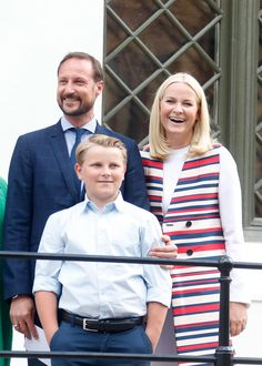 Crown Prince Haakon, Crown Princes Mette-Marit and Prince Sverre Magnus of Norway as the Norwegian Royal Family pose for the celebration of Queen Sonja's 80th birthday on July 4, 2017 in Oslo.