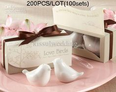 Wholesale Cheapest Wedding Favors of Lovebirds Ceramic Salt and Pepper shakers (100sets) topquality, Free shipping, $0.73-0.9/Piece | DHgate