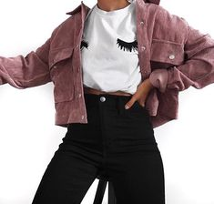college outfits -Pink -Corduroy Jacket -Button Through -Long Sleeve Polyester, Elastane -Length: Inch -Product Code: Denny Pink Mode Outfits, Fall Outfits, Casual Outfits, Summer Outfits, Fashion Outfits, Fashion Belts, Fashion Pics, Pretty Outfits, Beautiful Outfits
