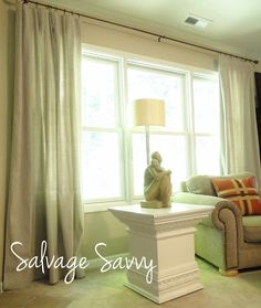Salvage Savvy: DIY Drop Cloth Curtains