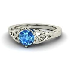 Round Blue Topaz  Solitaire Ring in 14k White Gold