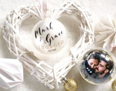 Christmas Engagement Personalized Photo Ornament Proposal