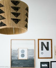 Triangle stamped diy jute lampshade / Grillo Designs